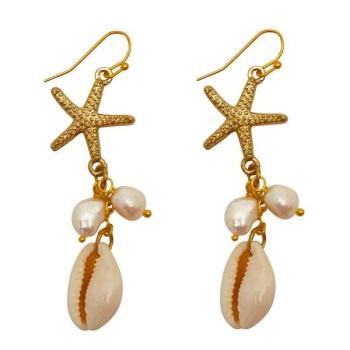 Starfish Shell Drop Earrings