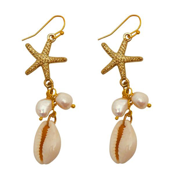 Starfish Shell Drop Earrings