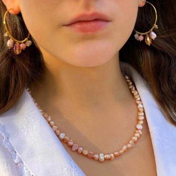 Pink Pearl & Stone Hoop Earrings
