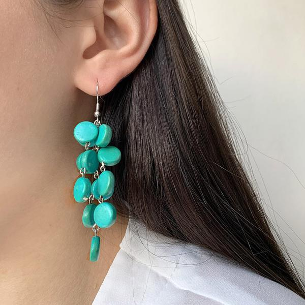 Coconut Shell Cascade Earrings Turquoise - MORE COLOURS AVAILABLE