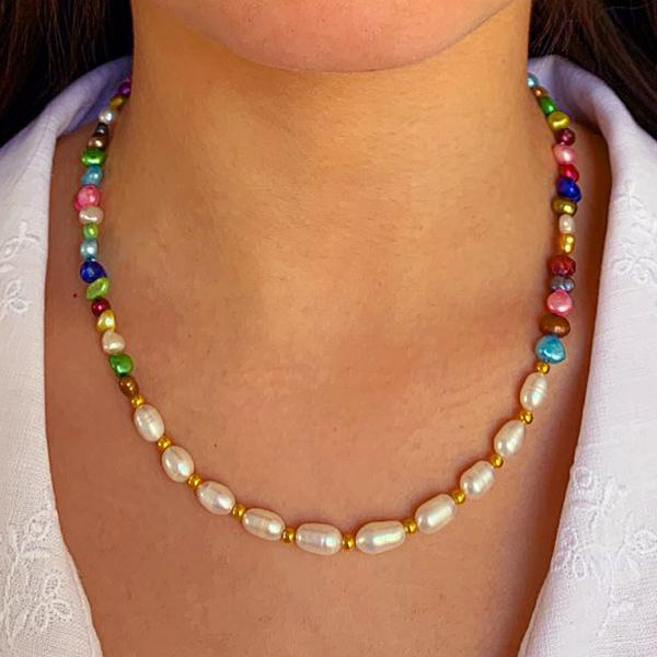 Rainbow White Pearl Necklace