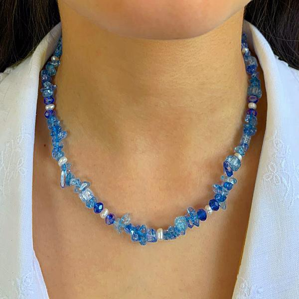 Stone & Crystal Necklace Aqua - MORE COLOURS AVAILABLE