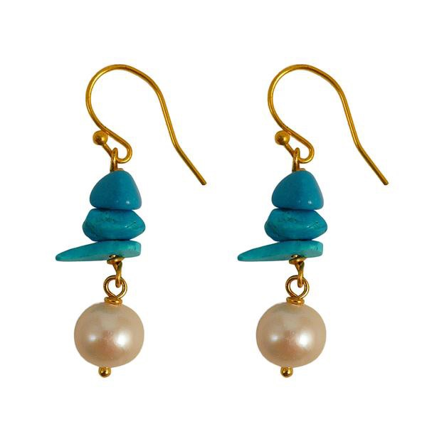 Turquoise Chipping Pearl Earrings