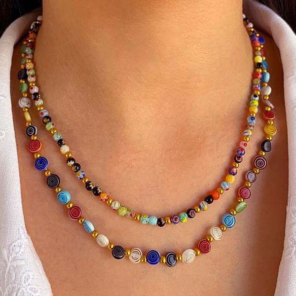 Rainbow Spiral Glass Bead Necklace