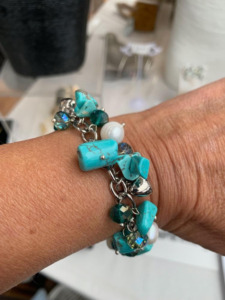 Turquoise Multi Pearl Stone Charm Bracelet