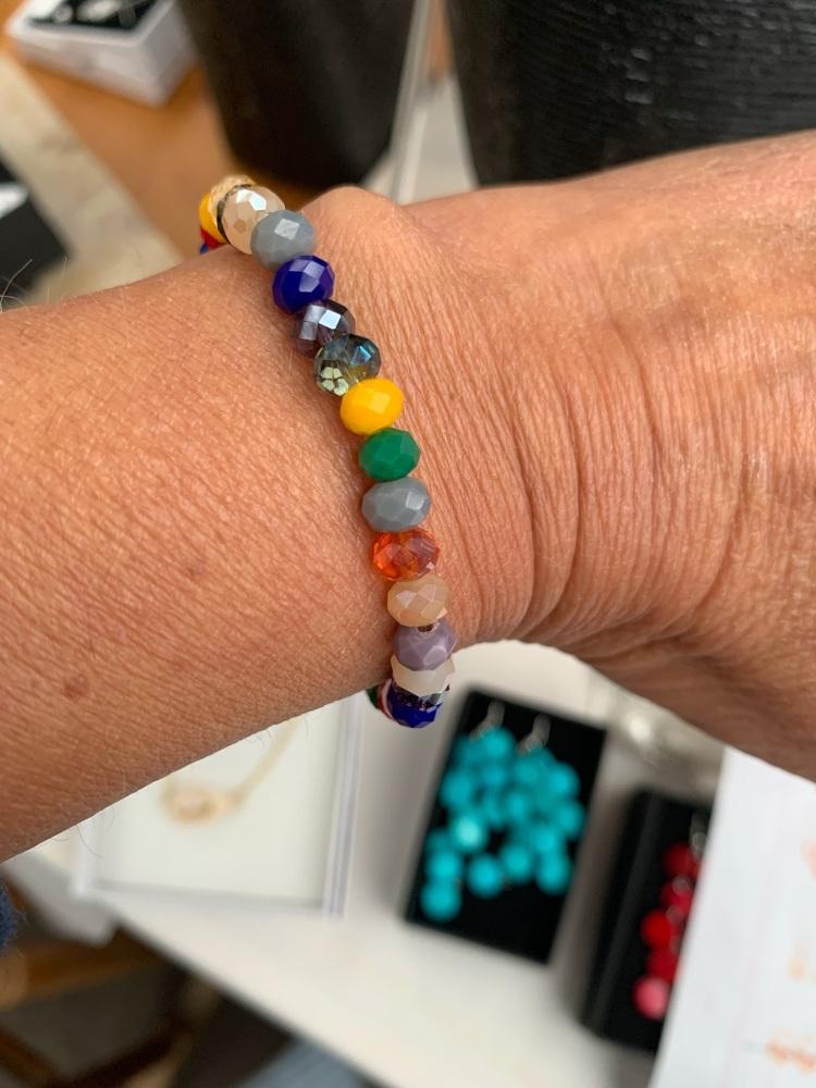 Rainbow Glass Bead  Stacker Bracelet
