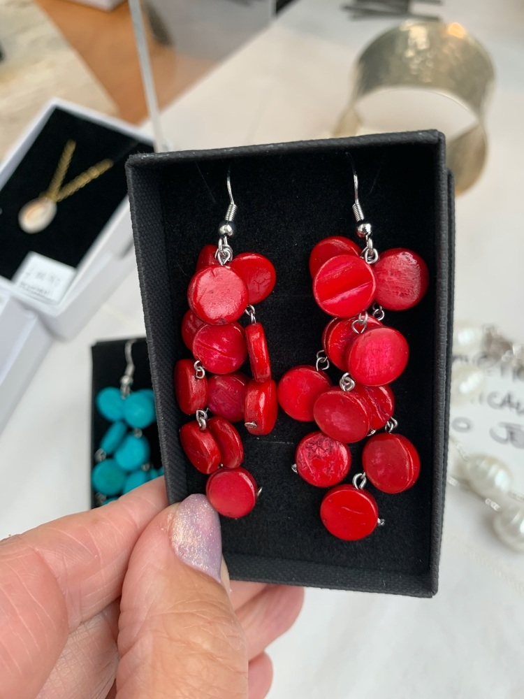 Coconut Shell Cascade Earrings Red - MORE COLOURS AVAILABLE