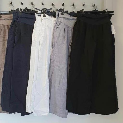 Black Linen Wide Leg Trousers