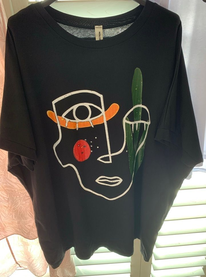 Abstract Face Sketch Tee Shirt Black - MORE COLOURS AVAILABLE
