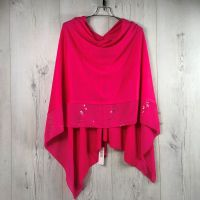 Sparkle Chiffon Trim Poncho Style Wrap - ONLY HOT PINK LEFT