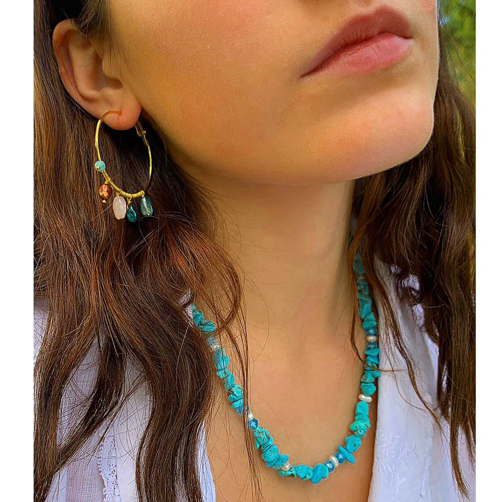 Turquoise Stone Chip Necklace