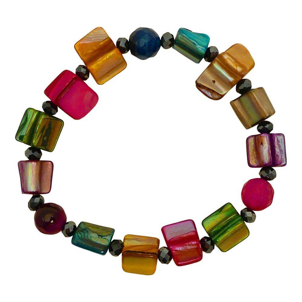 Rainbow Shell Bead Stretch Bracelet