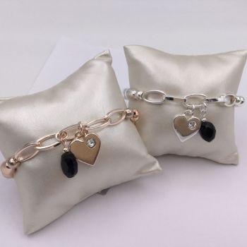 Chainlink Heart Drop Bracelet