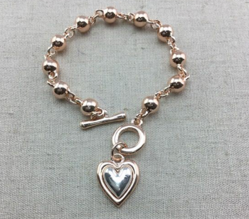 Heart Drop Beaded Bracelet- Rose Gold and Silver
