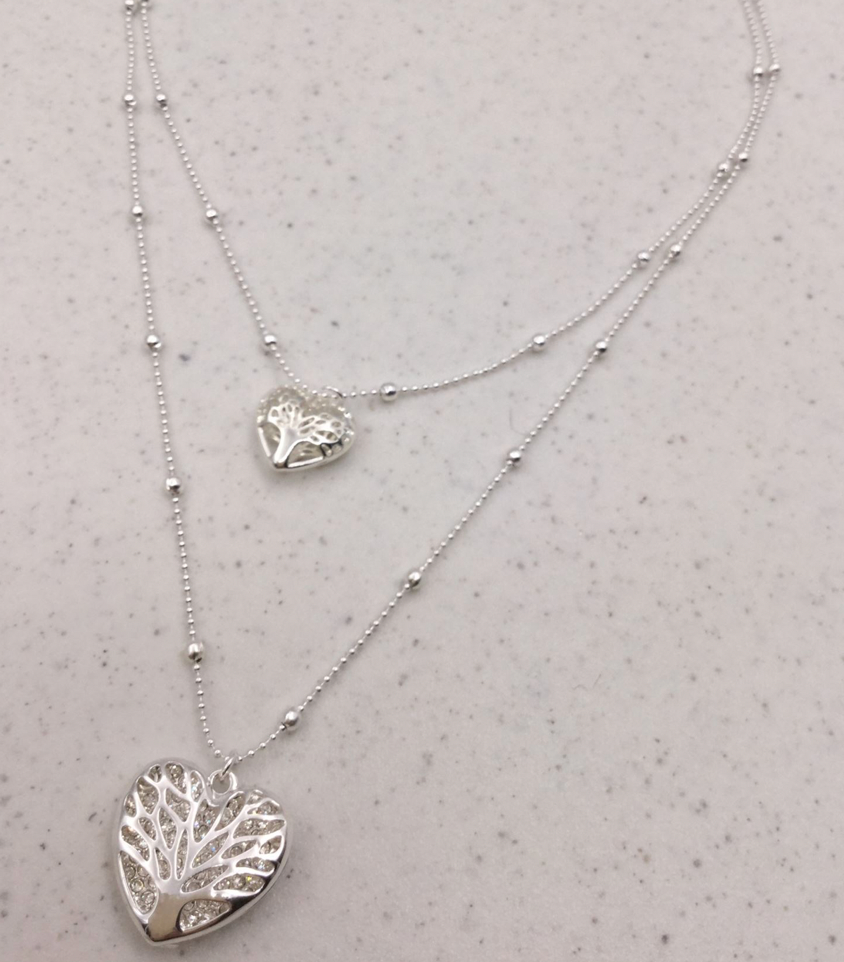 Double Filligree Heart Layered Necklace