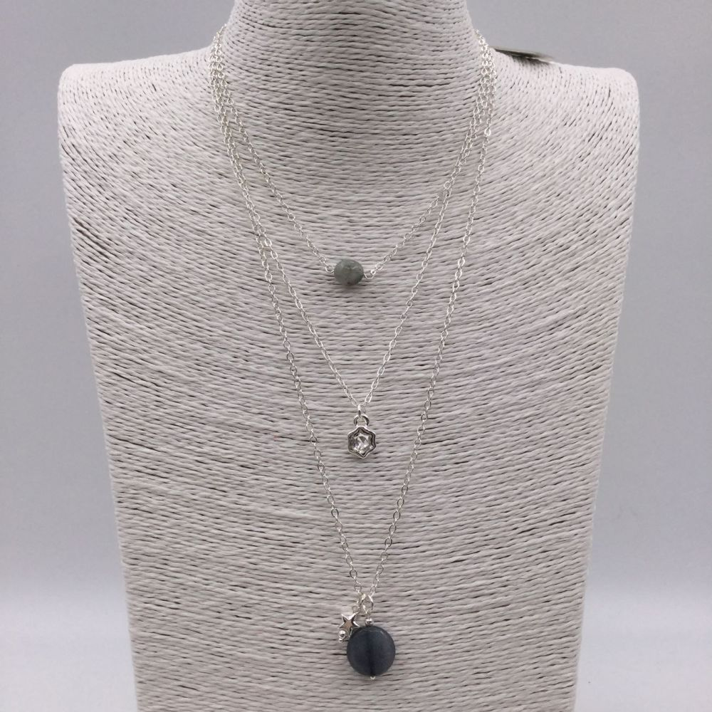 Triple Layered Stone Necklace
