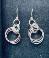 Tania Medium Circle Drop Earrings available in Silver or Silver & Rose Gold