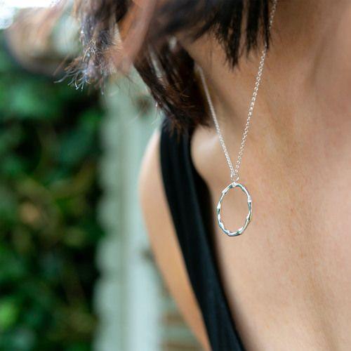 Zaina Bamboo Circle Pendant Silver