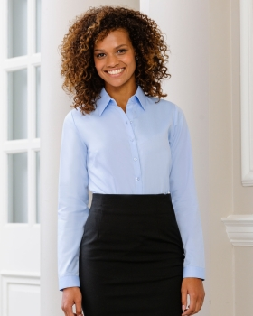 Russell Collection Ladies' Long Sleeve Herringbone Shirt