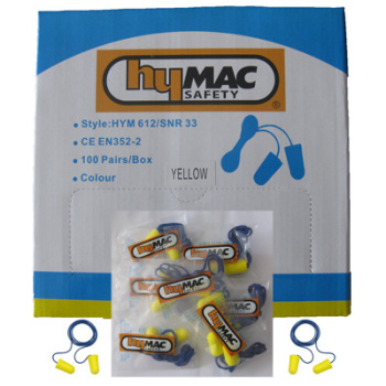 HYM612 Hymac Corded Earplugs (Pack 100 Pairs)
