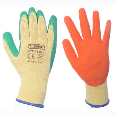 Hymac Latex Palm Grip Glove (Green / Orange)