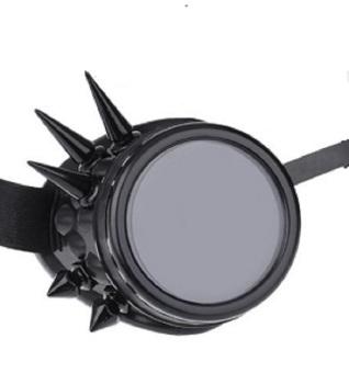Vintage Steampunk Spike Goggles - Black