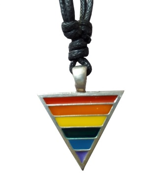 Rainbow Triangle Pewter Pendant Necklace