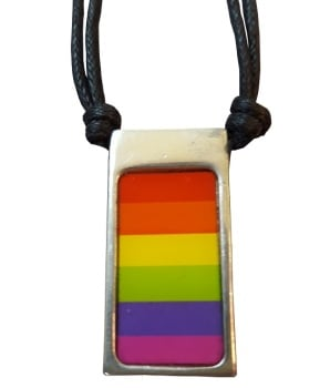 Rainbow Polished Pewter Pendant Necklace