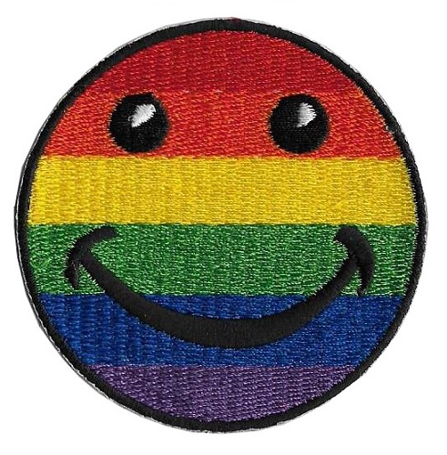 Rainbow Smilie Embroidered Iron-on Patch