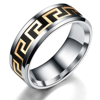 Surgical Steel Greek Key Design Ring