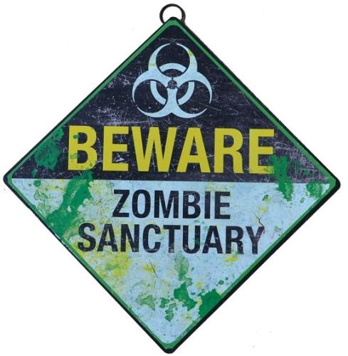 Zombie Sanctuary Metal Sign