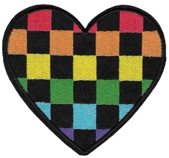 Chequered Rainbow Heart Embroidered Iron-on Patch