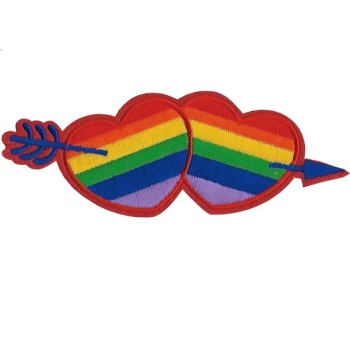 Rainbow Hearts Embroidered Iron-on Patch