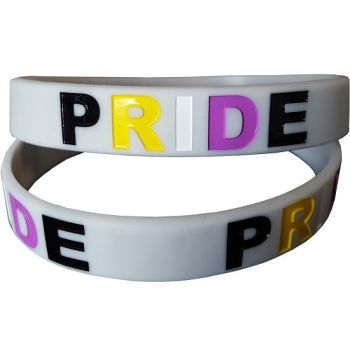 Debossed Non Binary PRIDE Silicon Rubber Wristband