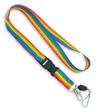 Rainbow Lanyard with removable end - with or without Whistle.