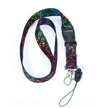 Rainbow Music Note Lanyard with removable end - with or without Whistle.