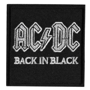 AC/DC Back In Black Iron On Embroidered Patch