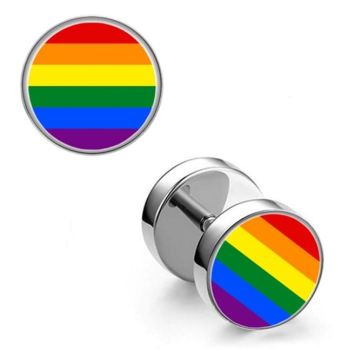 Surgical Steel 10mm Rainbow Imitation Stretched Ear Plugs