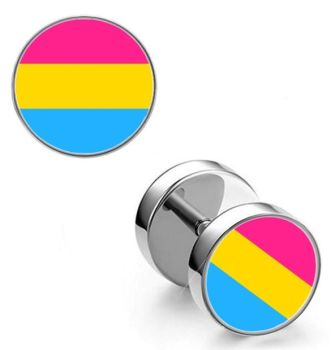 Surgical Steel 10mm Pansexual Imitation Stretched Ear Plugs