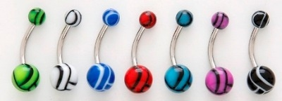 UV Reactive Volleyball Design Belly Bar