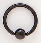 1.6mm Black Titanium Anodised Ball Closure Ring (BCR)