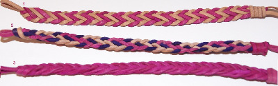 Pink Leather Plait Wristband