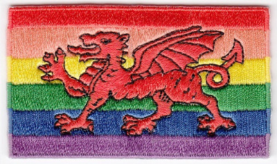 Welsh Dragon Rainbow Flag Embroidered Iron-on Patch