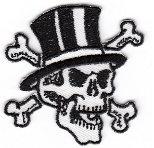 Skull & Crossbones in Top Hat Embroidered Iron-on Patch