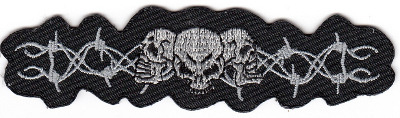 Skulls & Barbed Wiire Band Embroidered Iron-on Patch