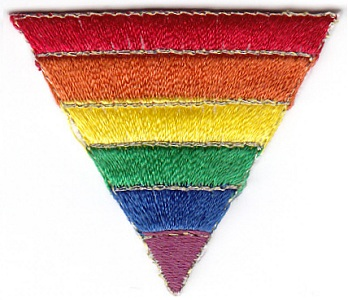 Rainbow Triangle Embroidered Iron-on Patch with Gold Edging