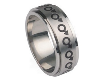 Mars (Male Symbol) Design Surgical Steel Spinner Ring