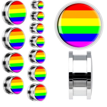 Surgical Steel Rainbow Screwfit Ear Plug