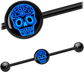 Black Titanium Anodised Sugar Skull Industrial Bar