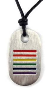 Rainbow Stripe Pewter Pendant Necklace